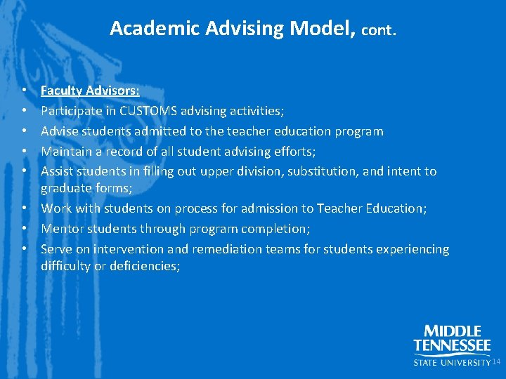Academic Advising Model, cont. Faculty Advisors: Participate in CUSTOMS advising activities; Advise students admitted