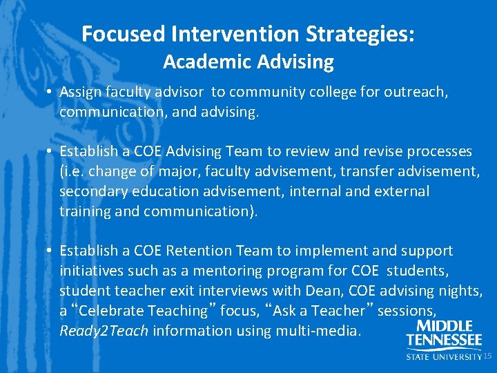 Focused Intervention Strategies: Academic Advising • Assign faculty advisor to community college for outreach,