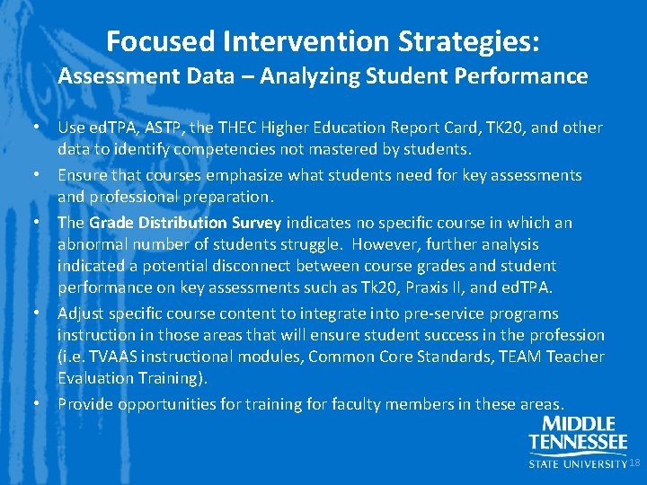 Focused Intervention Strategies: Assessment Data – Analyzing Student Performance • Use ed. TPA, ASTP,