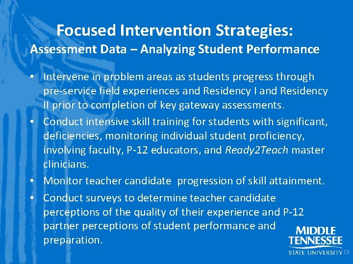Focused Intervention Strategies: Assessment Data – Analyzing Student Performance • Intervene in problem areas