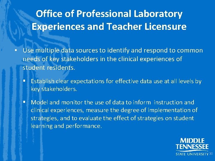 Office of Professional Laboratory Experiences and Teacher Licensure • Use multiple data sources to