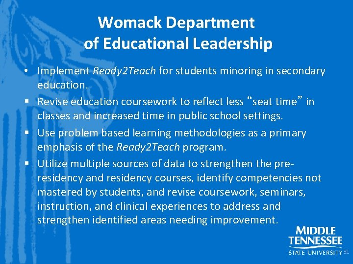 Womack Department of Educational Leadership • Implement Ready 2 Teach for students minoring in