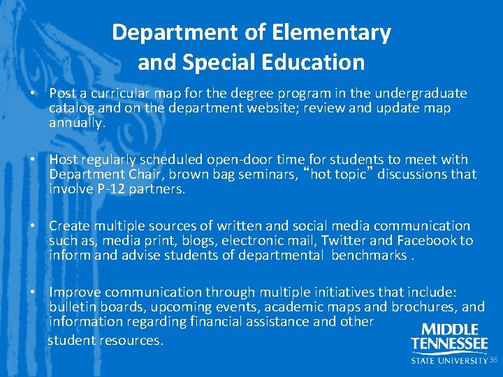 Department of Elementary and Special Education • Post a curricular map for the degree