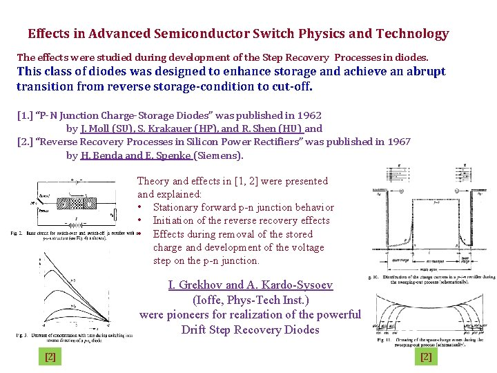 Effects in Advanced Semiconductor Switch Physics and Technology The effects were studied during development