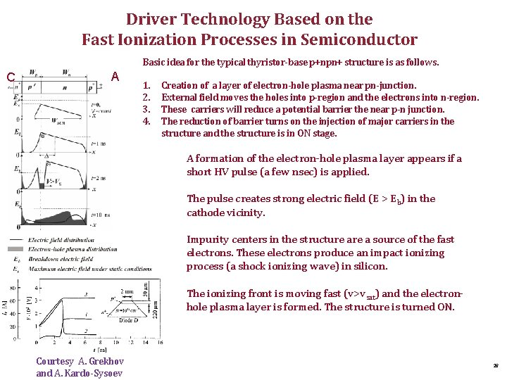 Driver Technology Based on the Fast Ionization Processes in Semiconductor Basic idea for the