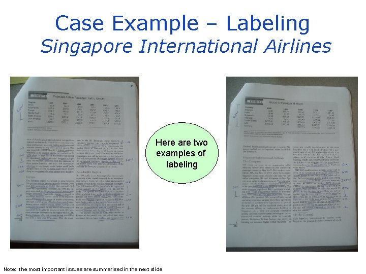 Case Example – Labeling Singapore International Airlines Here are two examples of labeling Note: