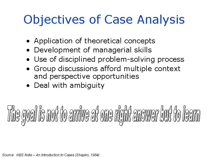 Objectives of Case Analysis • • Application of theoretical concepts Development of managerial skills