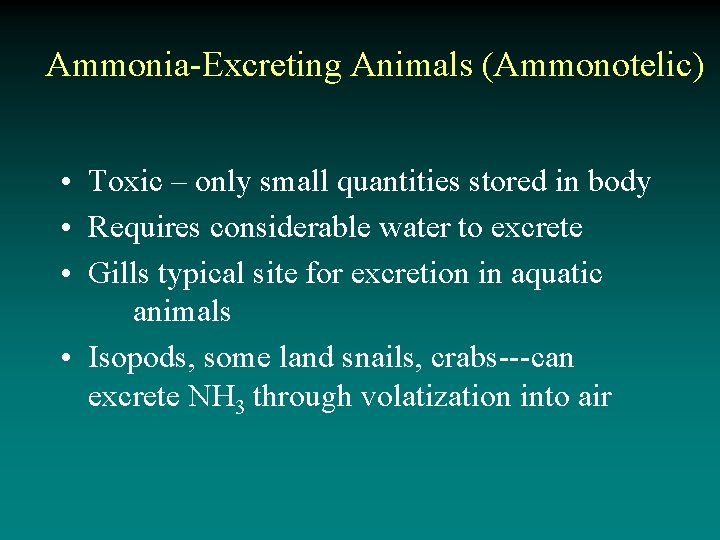 Ammonia-Excreting Animals (Ammonotelic) • Toxic – only small quantities stored in body • Requires