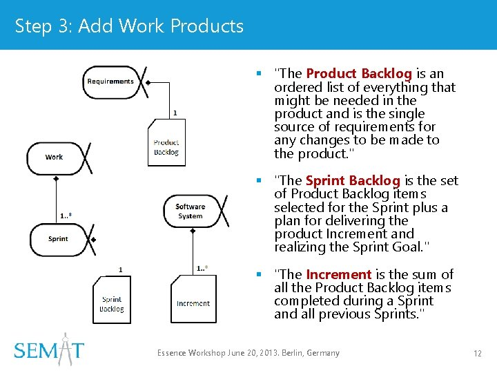 """Step 3: Add Work Products § """"The Product Backlog is an ordered list of"""