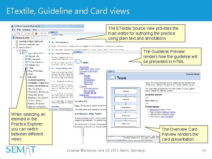 ETextile, Guideline and Card views The ETextile Source view provides the main editor for