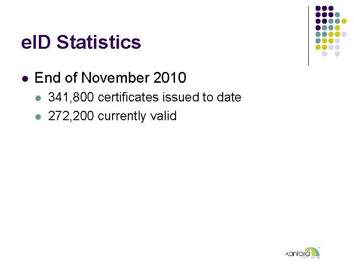 e. ID Statistics l End of November 2010 l l 341, 800 certificates issued