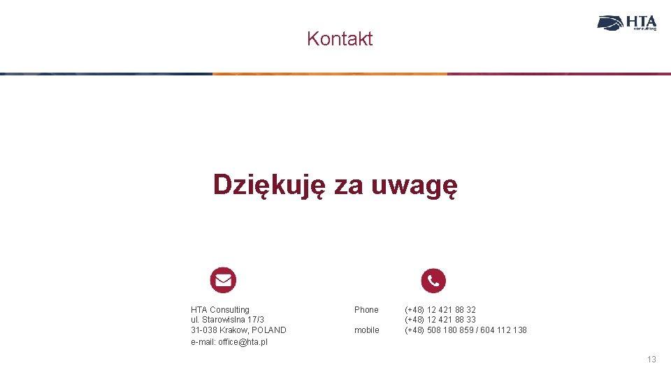 Kontakt Dziękuję za uwagę HTA Consulting ul. Starowislna 17/3 31 -038 Krakow, POLAND e-mail: