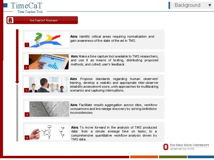 Time. Ca. T Background Time Capture Tool THE TIMECAT ROADMAP Aim: Identify critical areas