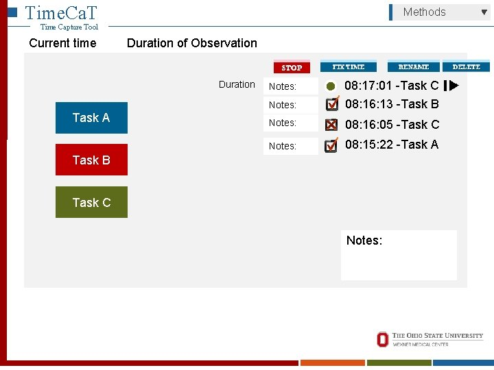 Time. Ca. T Methods Time Capture Tool Current time Duration of Observation Duration Task