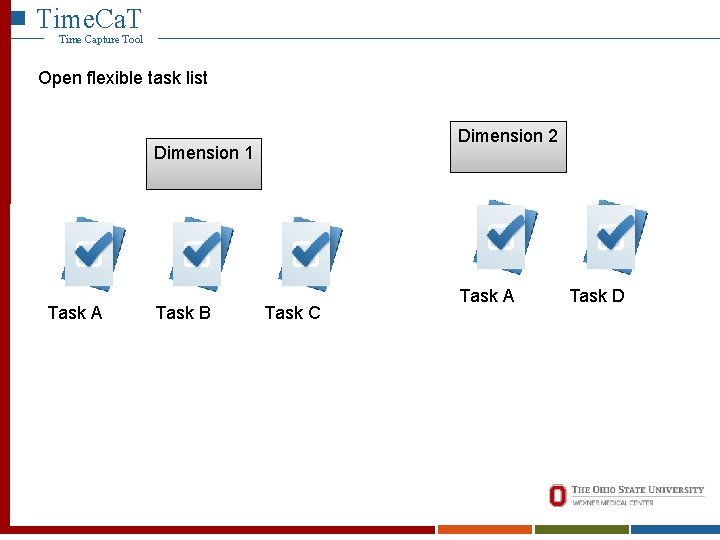 Time. Ca. T Time Capture Tool Open flexible task list Dimension 2 Dimension 1