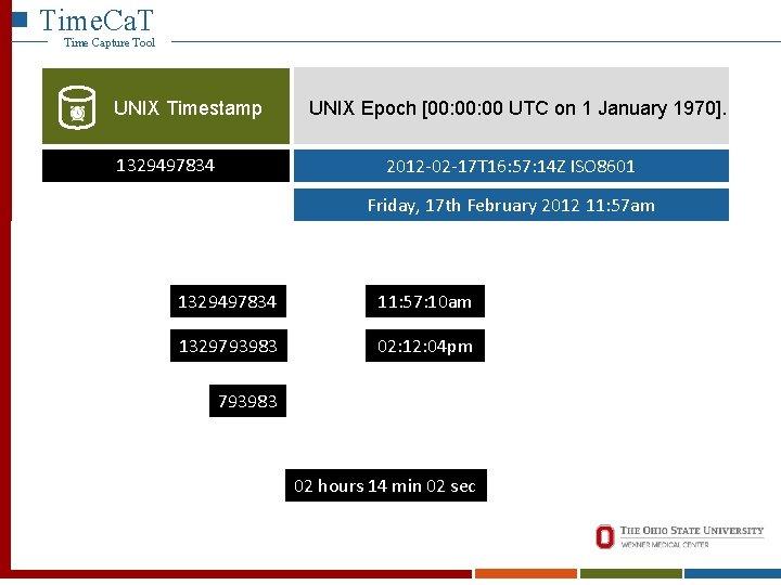Time. Ca. T Time Capture Tool UNIX Timestamp 1329497834 UNIX Epoch [00: 00 UTC