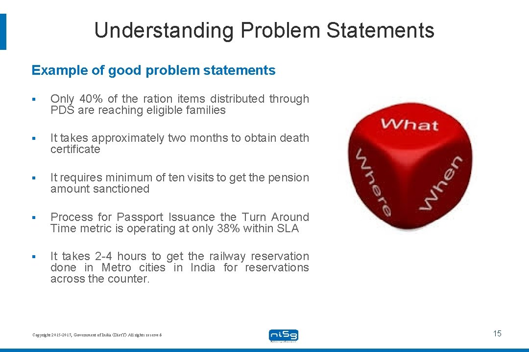 Understanding Problem Statements Example of good problem statements § Only 40% of the ration