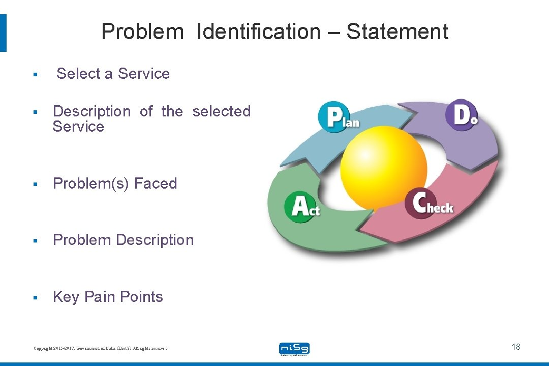 Problem Identification – Statement § Select a Service § Description of the selected Service