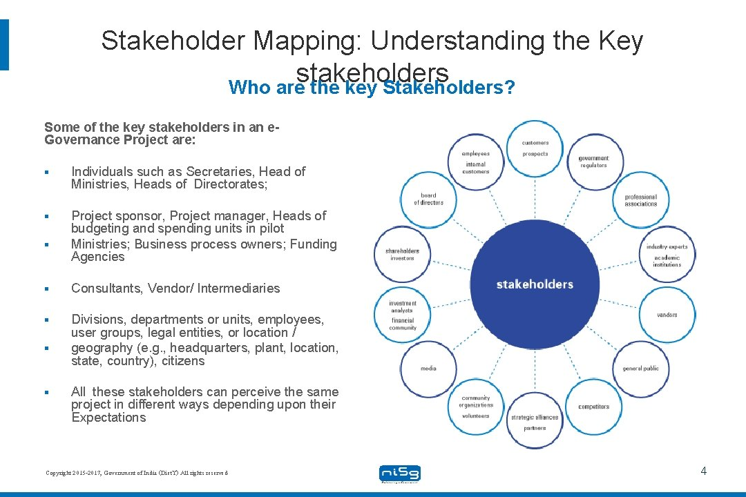 Stakeholder Mapping: Understanding the Key stakeholders Who are the key Stakeholders? Some of the