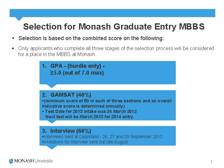 Selection for Monash Graduate Entry MBBS § Selection is based on the combined