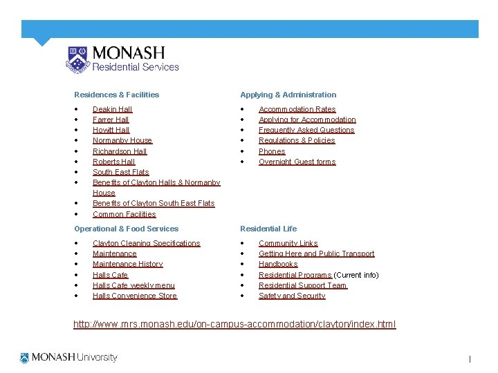 Residences & Facilities Applying & Administration Deakin Hall Farrer Hall Howitt Hall Normanby House
