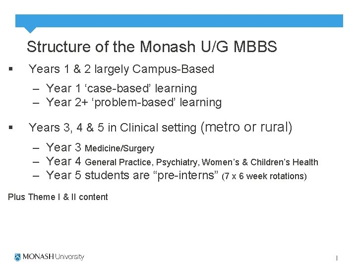 Structure of the Monash U/G MBBS § Years 1 & 2 largely Campus-Based –