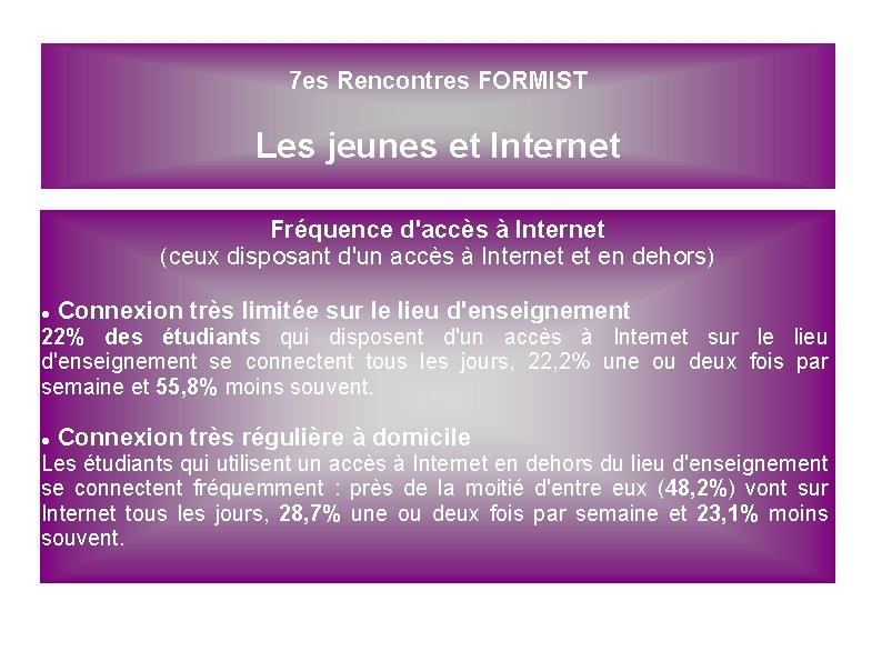 7 es Rencontres FORMIST Les jeunes et Internet Fréquence d'accès à Internet (ceux disposant