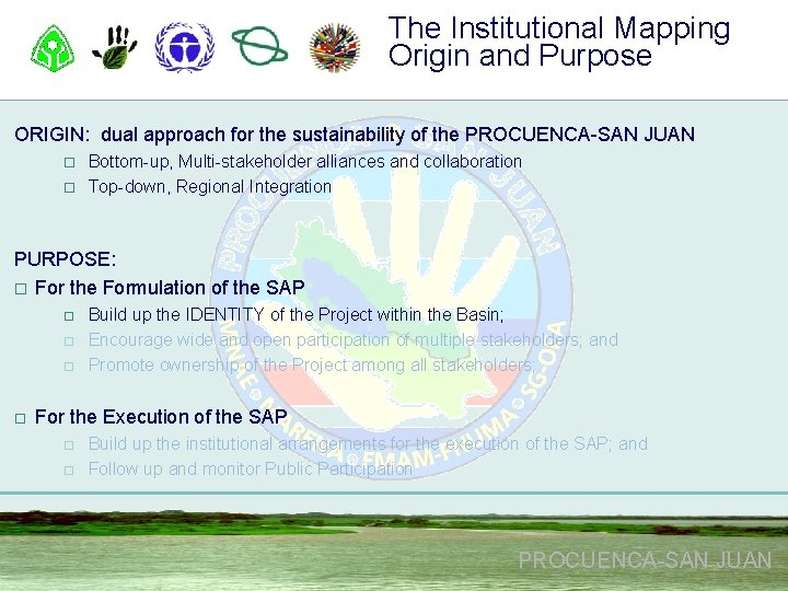 The Institutional Mapping Origin and Purpose ORIGIN: dual approach for the sustainability of the