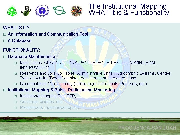 The Institutional Mapping WHAT it is & Functionality WHAT IS IT? o An Information
