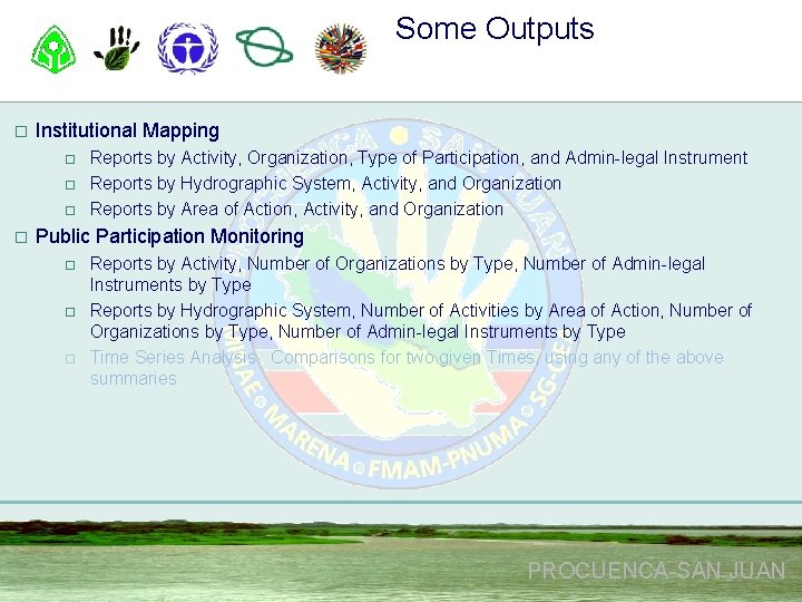 Some Outputs o Institutional Mapping o o Reports by Activity, Organization, Type of Participation,
