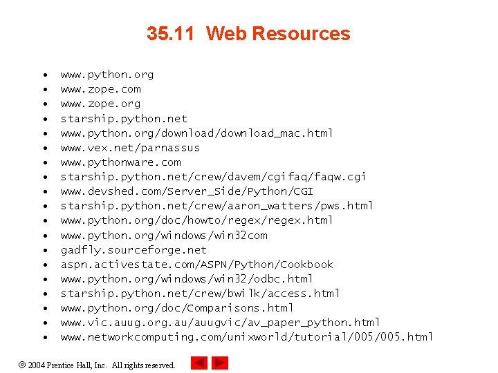 35. 11 Web Resources • • • • • www. python. org www. zope.