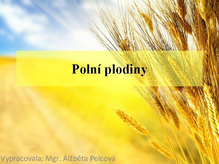 Polní plodiny Vypracovala: Mgr. Alžběta Pelcová