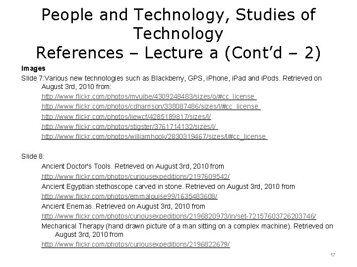 People and Technology, Studies of Technology References – Lecture a (Cont'd – 2) Images