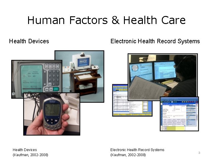 Human Factors & Health Care Health Devices (Kaufman, 2002 -2008) Electronic Health Record Systems