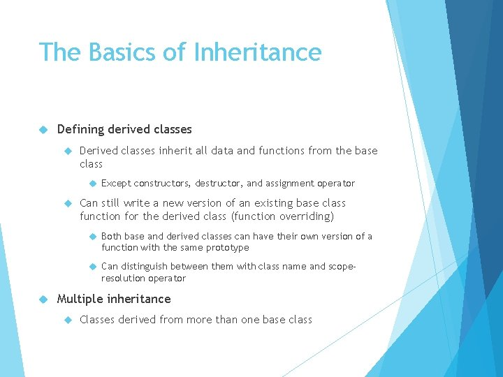 The Basics of Inheritance Defining derived classes Derived classes inherit all data and functions