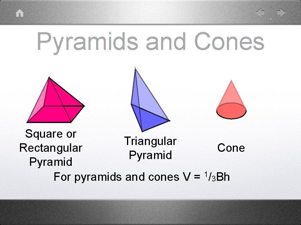 Pyramids and Cones Square or Triangular Rectangular Cone Pyramid For pyramids and cones V
