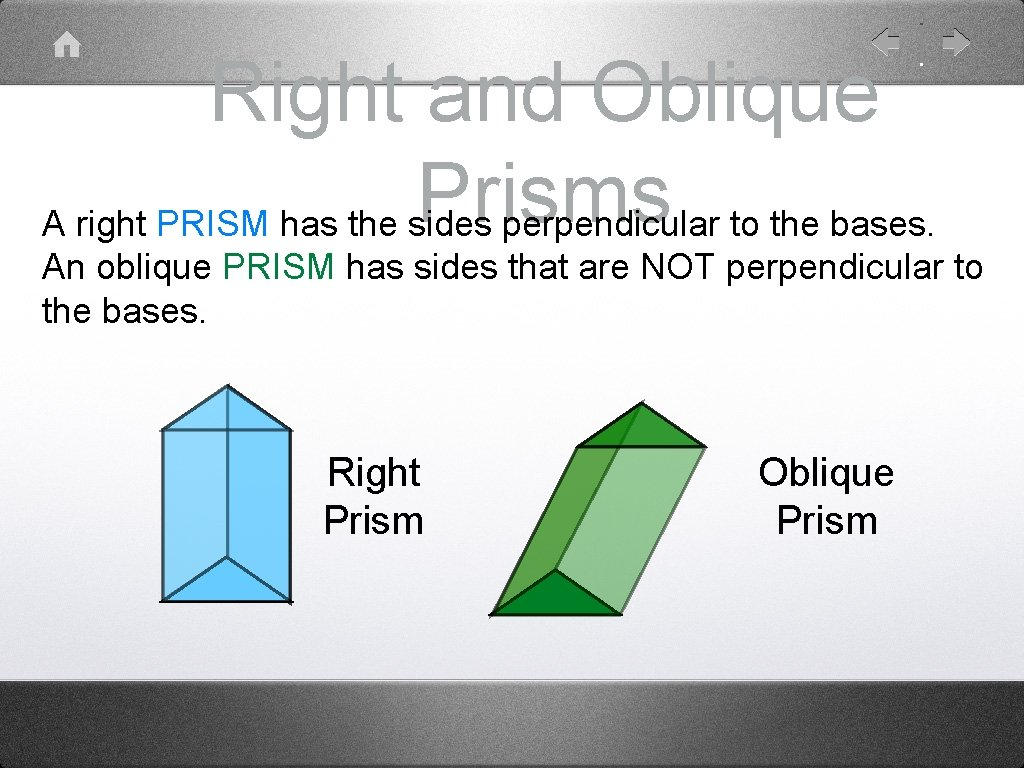 Right and Oblique Prisms A right PRISM has the sides perpendicular to the bases.