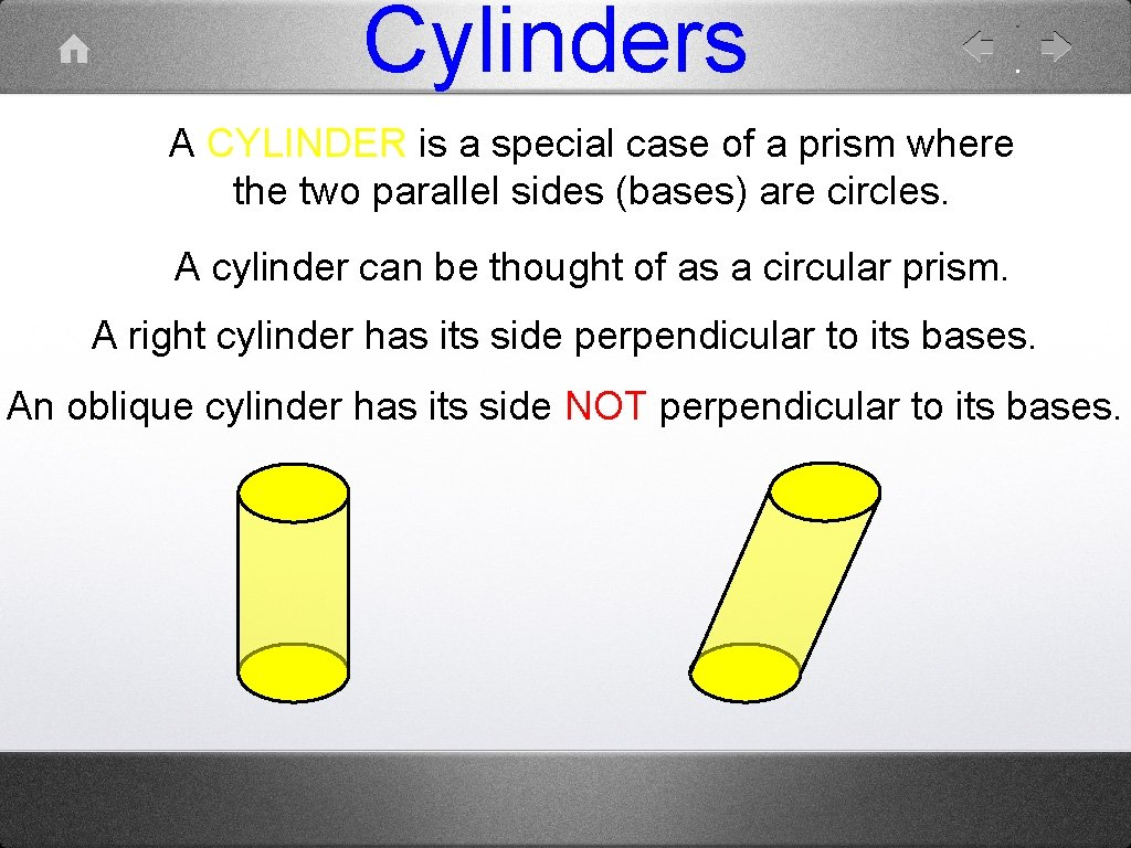 Cylinders A CYLINDER is a special case of a prism where the two parallel