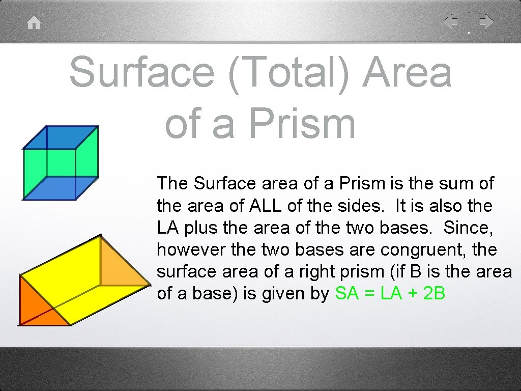 Surface (Total) Area of a Prism The Surface area of a Prism is the