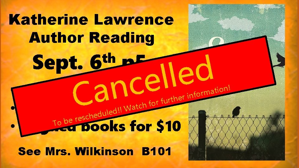 Katherine Lawrence Author Reading Sept. th 6 p 5 d e l l e