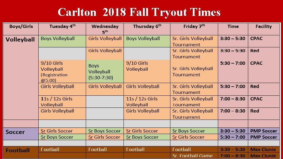 Carlton 2018 Fall Tryout Times