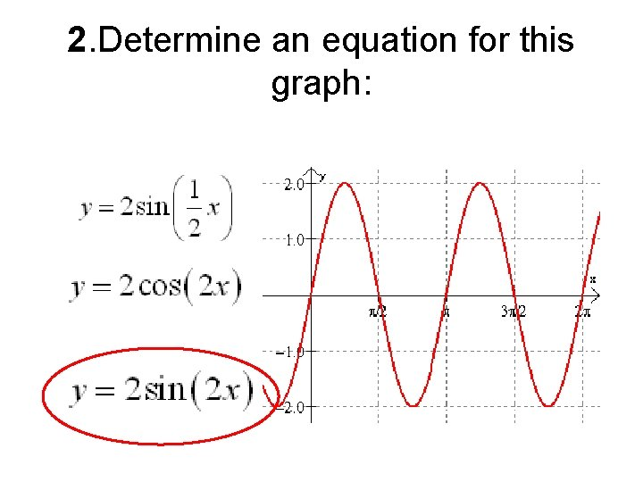 2. Determine an equation for this graph: