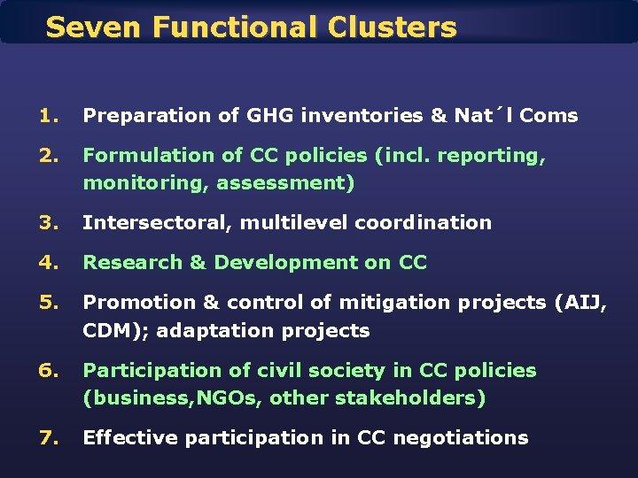 Seven Functional Clusters 1. Preparation of GHG inventories & Nat´l Coms 2. Formulation of