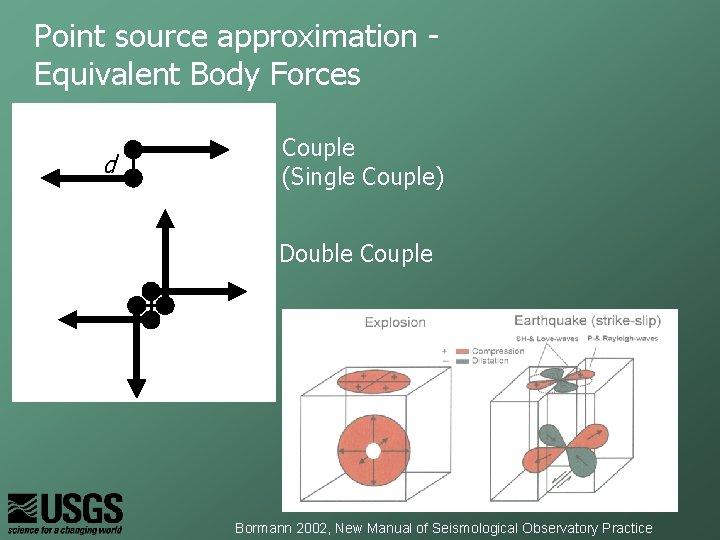 Point source approximation Equivalent Body Forces d Couple (Single Couple) Double Couple Bormann 2002,