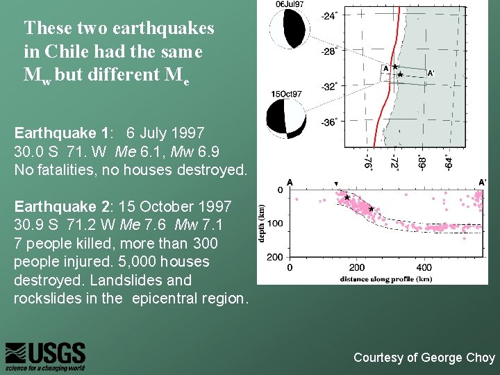 These two earthquakes in Chile had the same Mw but different Me Earthquake 1: