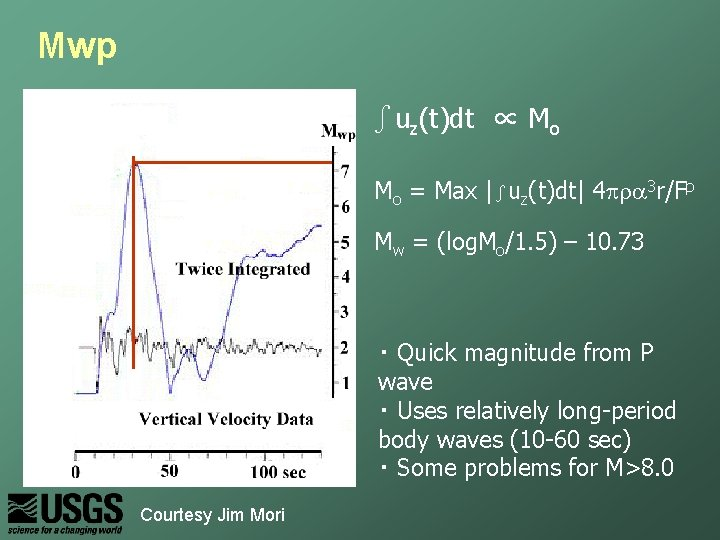 Mwp ∫uz(t)dt ∝ Mo Mo = Max |∫uz(t)dt| 4 pra 3 r/Fp Mw =