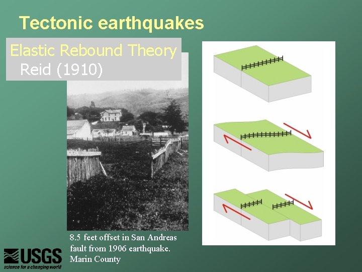 Tectonic earthquakes Elastic Rebound Theory Reid (1910) 8. 5 feet offset in San Andreas