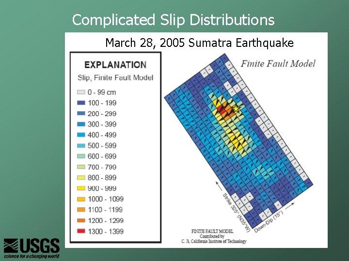 Complicated Slip Distributions March 28, 2005 Sumatra Earthquake
