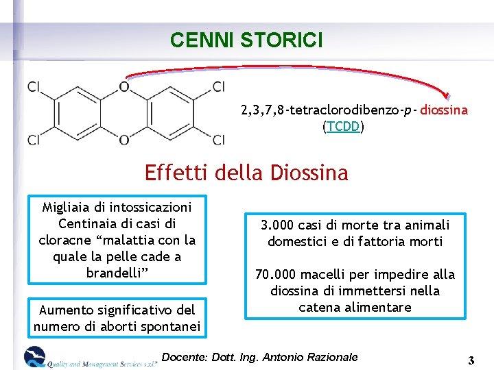 CENNI STORICI 2, 3, 7, 8 -tetraclorodibenzo-p- diossina (TCDD) Effetti della Diossina Migliaia di