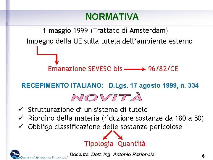 NORMATIVA 1 maggio 1999 (Trattato di Amsterdam) Impegno della UE sulla tutela dell'ambiente esterno